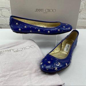 NIB Jimmy Choo Wink Star Studded Patent Flat Blue